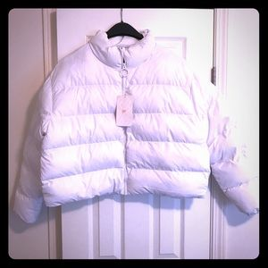 NWT White Fabletics Arden Puffer Jacket